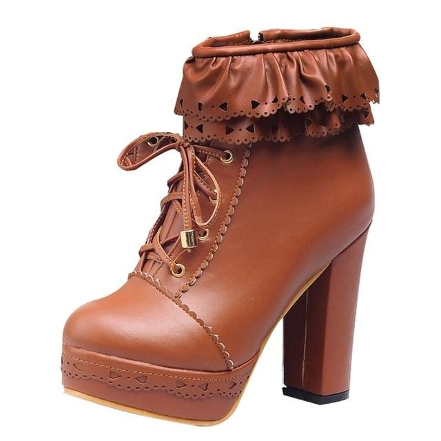 Ruffled Lace Lolita Booties - Brown / 10.5 - boots