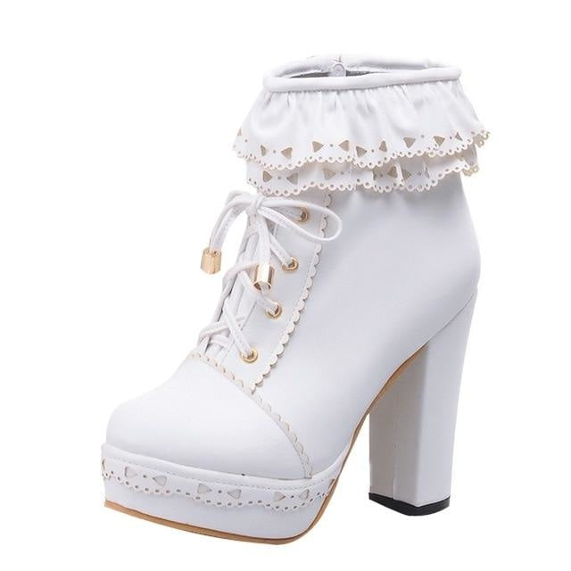 Ruffled Lace Lolita Booties - White / 8.5 - boots
