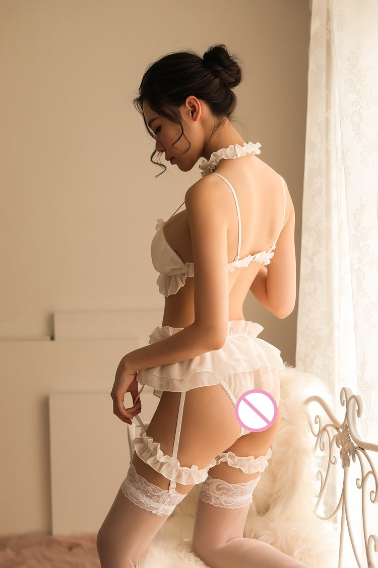 Sexy White Ruffled Lingerie Set Girly Silk Bows Fetish Kink Collar Garter Belt