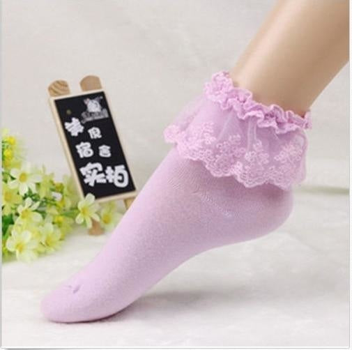 Sweet Lavender Purple Frilly Lace Ruffled Bow Ankle Socks Lolita Kawaii Fashion