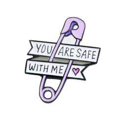 Purple You Are Safe With Me Enamel Pin Lapel Brooch Safety Pin Kawaii Little Space Age Play CGL