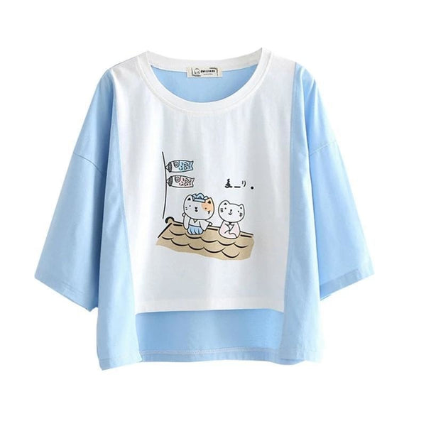 Sailing Kitten Tee - Blue - t-shirt