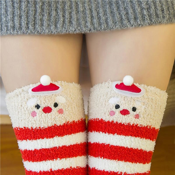 christmas santa clause holiday thigh high socks stockings knee socks tights furry fuzzy warm animal print striped winter wear
