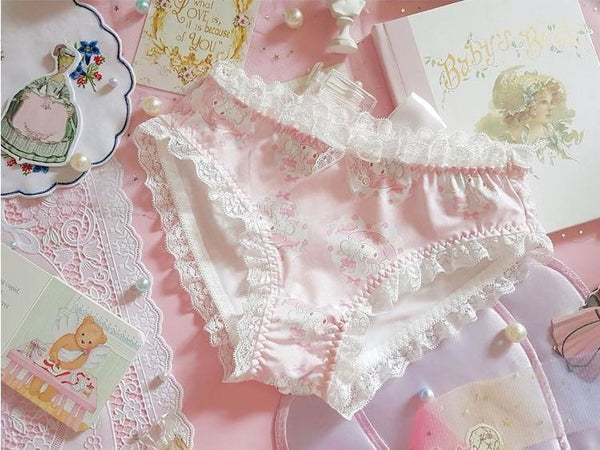 Satin Melody Panties - baby bun, fairy kei, kawaii, my melody, pantie