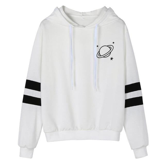White Saturn Hoodie Pullover Sweatshirt Planets Outer Space Kawaii Fashion