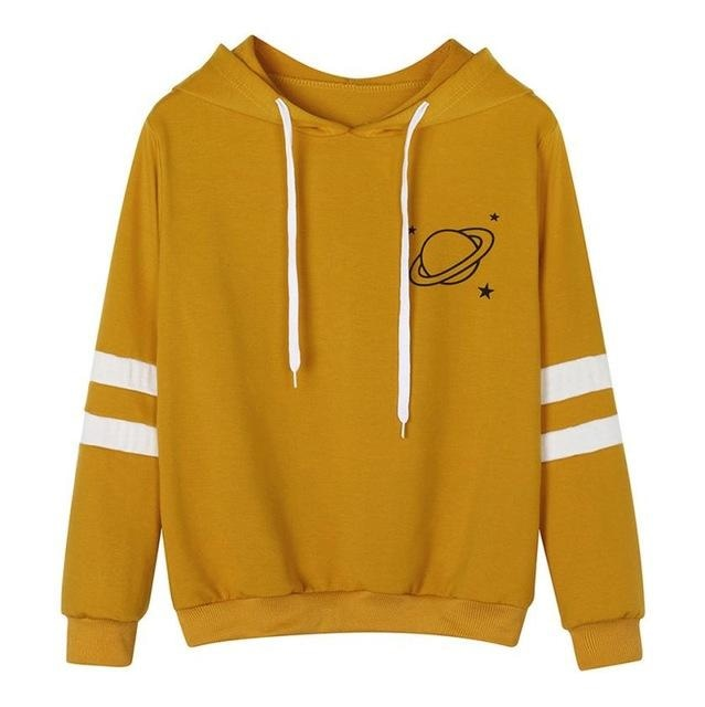 Yellow Mustard Saturn Hoodie Pullover Sweatshirt Planets Outer Space Kawaii Fashion
