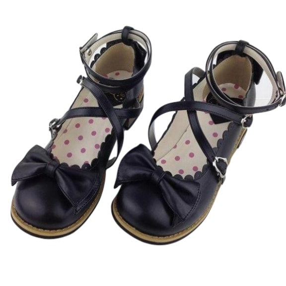 Traditional Black Lolita Shoes School Girl Flats EGL Community Bows And Straps Buckles by DDLG Playground