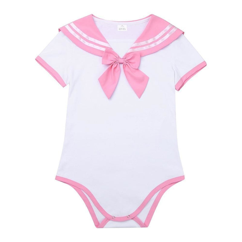 pink school girl adult onesie two piece 2pc set outfit romper jumper bodysuit sailor scout sailor moon cosplay costume snap crotch cgl abdl by ddlg playground