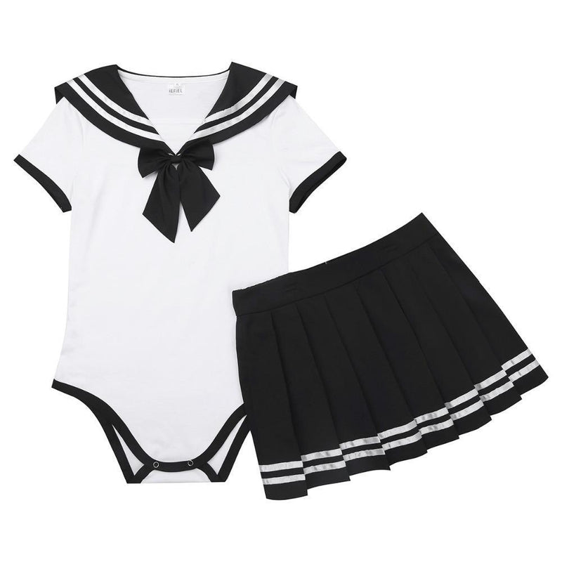 school girl adult onesie two piece 2pc set outfit romper jumper bodysuit sailor scout sailor moon cosplay costume snap crotch cgl abdl by ddlg playground