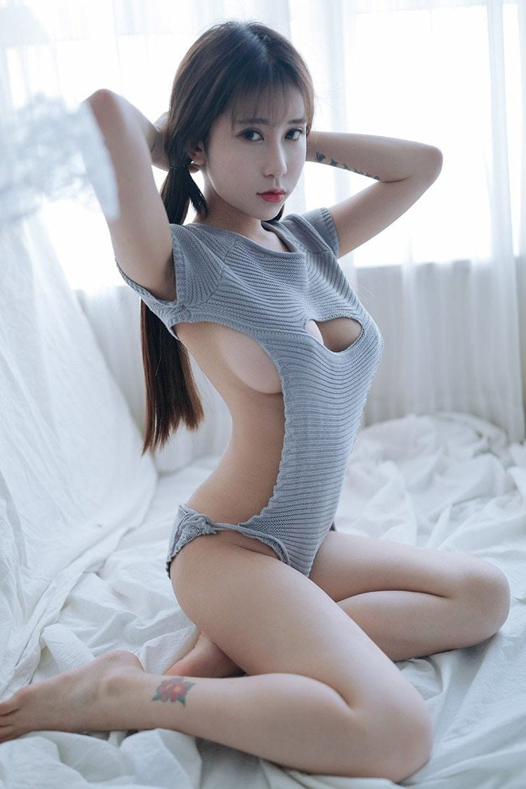Knit Bodysuit Virgin Killer Anime Game Romper JUmpsuit Onesie Sexy Vixen Seductive Lingerie