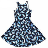 Blue Black Shark Skater Dress Plus Size Kawaii Fashion Little Space by DDLG Playground