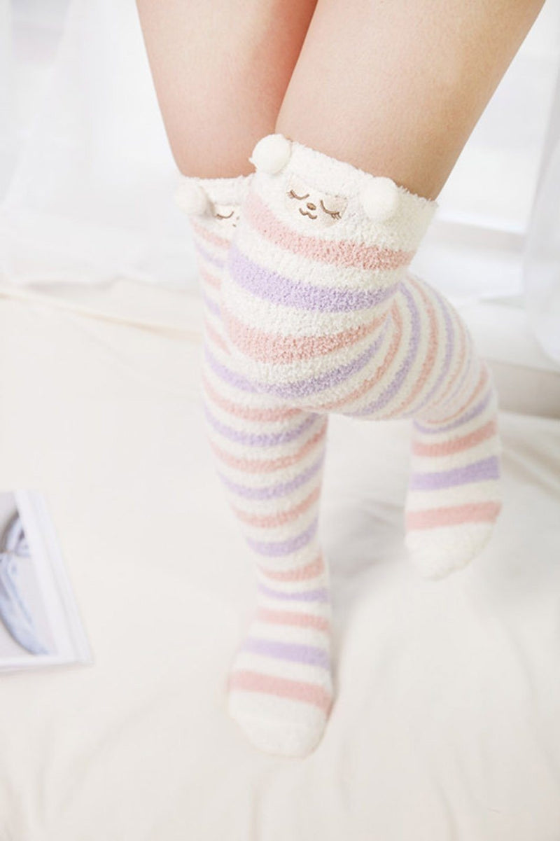 kawaii Pastel sheep Lamb wool fairy kei thigh high socks stockings knee socks tights furry fuzzy warm animal print striped winter wear