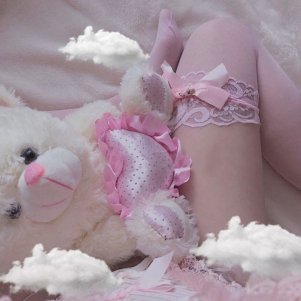 Sheer Babygirl Bow Stockings - Pink With - bows, nylons, panty hose, pantyhose, ribbons