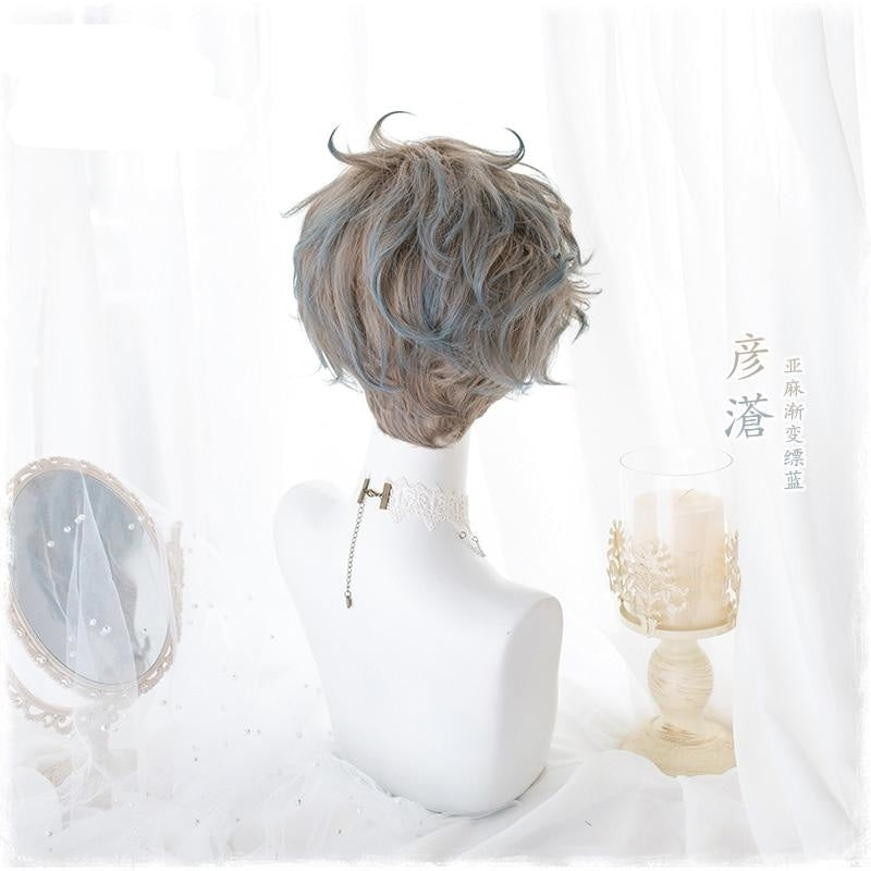 Short Pastel Blue Ombre Brown Cosplay Lolita Wig Kawaii Fashion Harajuku Androgynous Masculine Wavy