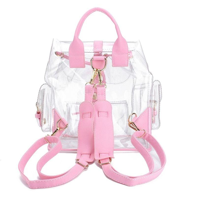 Pink Clear Transparent Backpack Book Bag Barbie Doll Style Invisible Travel bags