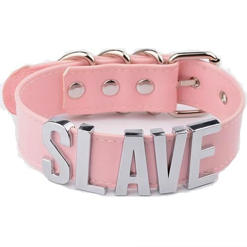 Pink leather SLAVE vegan choker necklace custom bdsm kink fetish customize bd/sm dd/lg dd lg  baby collar gold hardware  little space girl cgl kawaii aesthetic by ddlg playground