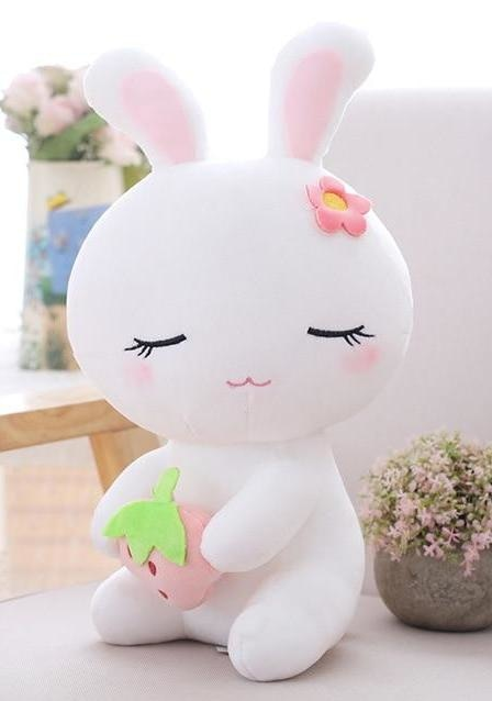 White Strawberry Sleepy Bunny Plush Baby Bun Rabbit Stuffed Animal ABDL Ageplay