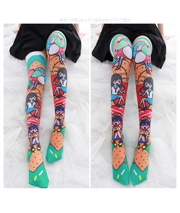 Snacky Babe Stockings - cartoon, colorful, kawaii, sock, sockies