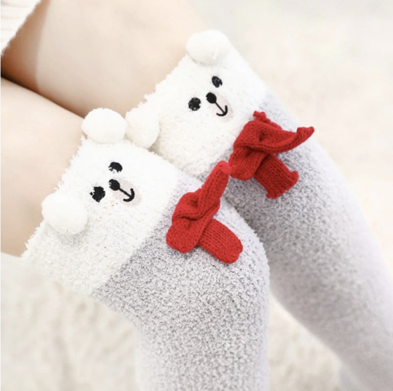 Snowy Bear Thigh Highs - abdl,adult babies,adult baby,adult baby diaper lover,age play