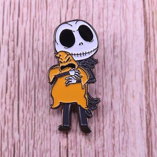 Jack Skellington Hugging Ghost Halloween Enamel Pin Lapel Brooch Jewelry
