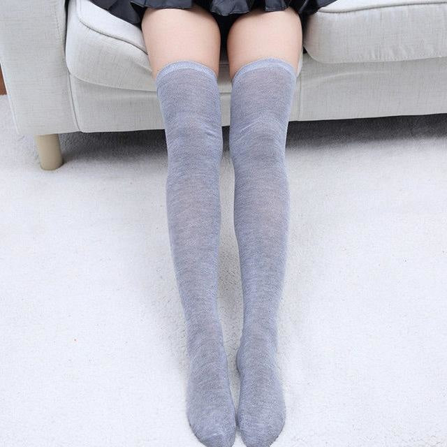 Solid Thigh High Stockings - Grey Stockings - socks