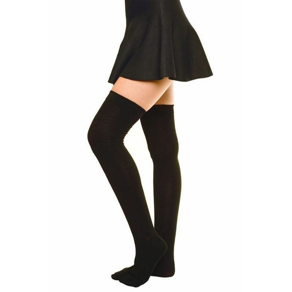 Solid Thigh High Stockings - socks
