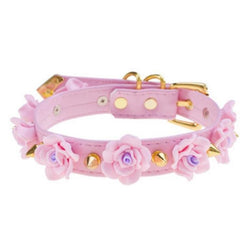 Pink Gold Spiked Flower Collar Choker Fetish Petplay Bondage BDSM Kink Vegan Leather