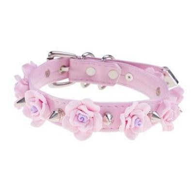 Pink Silver Spiked Flower Collar Choker Fetish Petplay Bondage BDSM Kink Vegan Leather