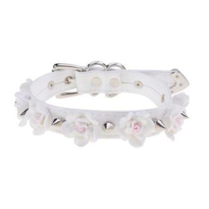 White Silver Spiked Flower Collar Choker Fetish Petplay Bondage BDSM Kink Vegan Leather