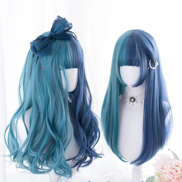 Split Blue Lolita Wig - cosplay, cosplayer, curly, hair, kanekalon