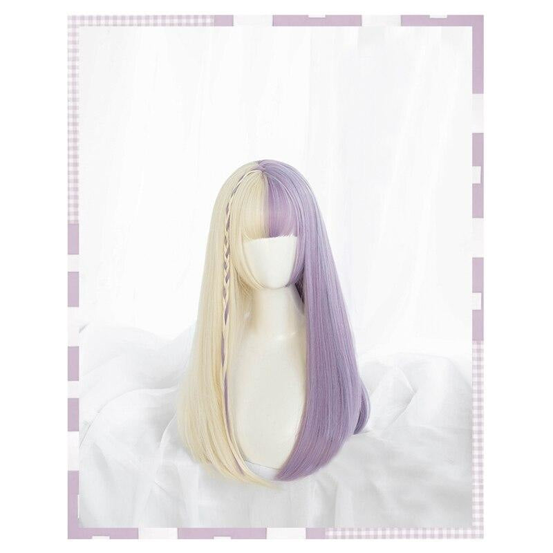 Split Lavender Lolita Wig - bangs, fairy kei, fake hair, kanekalon, lolita wig