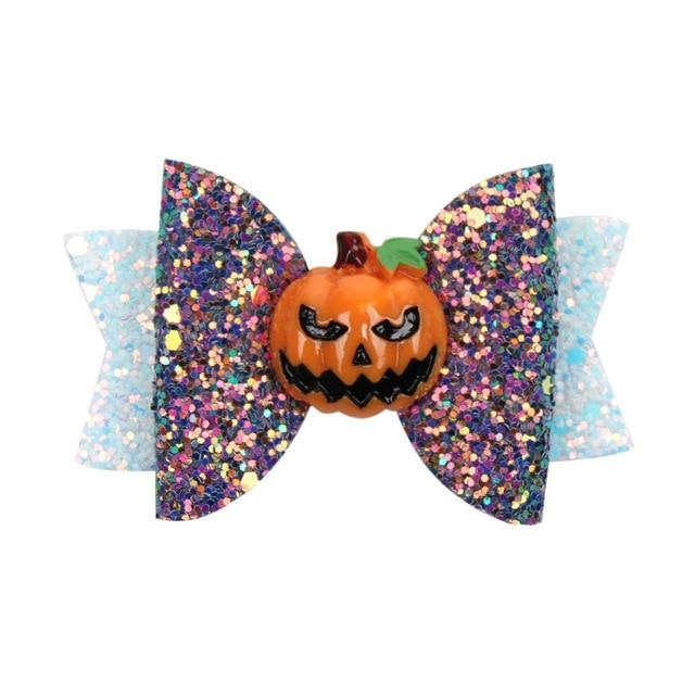Spooky Hair Bows - Pumpkin - hair accessory