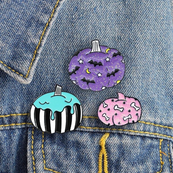 Spooky Pumpkin Enamel Pins Glitter Halloween Creepy Cute Lapel Brooch