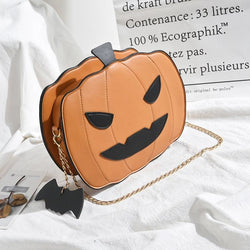 Orange Spooky Pumpkin Halloween Purse Handbag Creepy Cute Gothic Bag With Bat Keychain