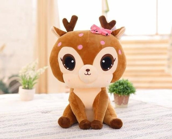 Spotted Deer Plush - Brown Sitting - stuffed animal