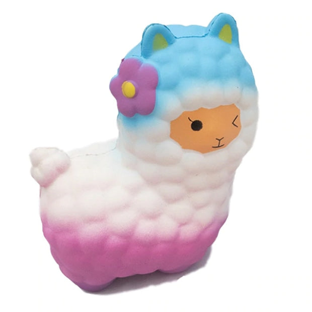 Squishy Rainbow Alpaca - White/Blue - squishy