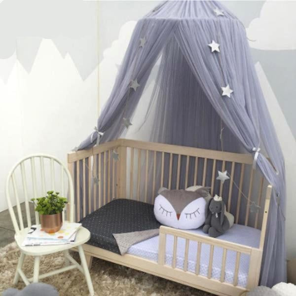 grey star canopy bed princess mosquito net bedding netting mesh see through tent ribbons bows ruffled girly abdl cgl dd/lg little space kink fetish by ddlg playground