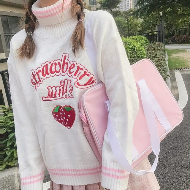 Strawberry Milk Knit Sweater - White Sweater - turtleneck