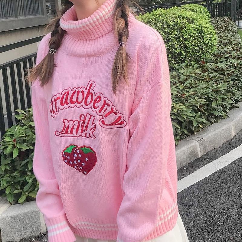 Strawberry Milk Knit Sweater - turtleneck