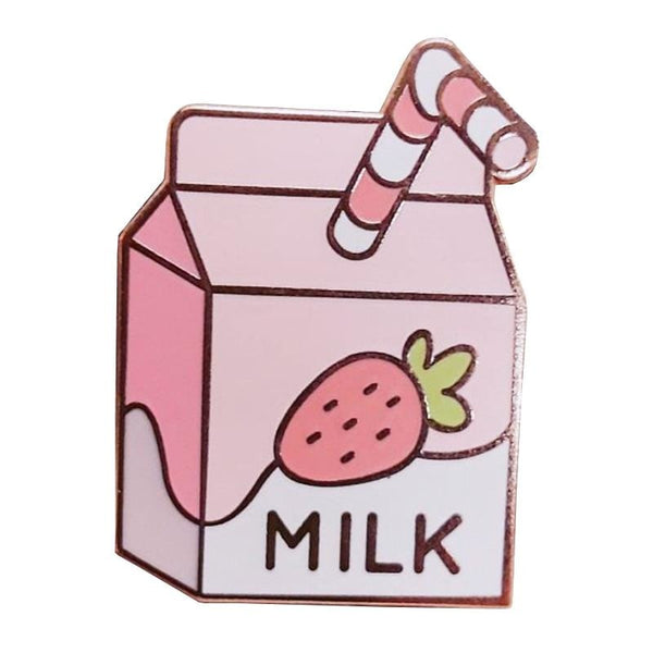 Kawaii Pink Strawberry Milk Enamel Pin Lapel Brooch Japan Cute