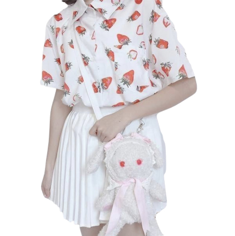 White Red Strawberry Button Up Blouse Short Sleeve Top T-shirt Kawaii Cute K-Pop Harajuku Fashion