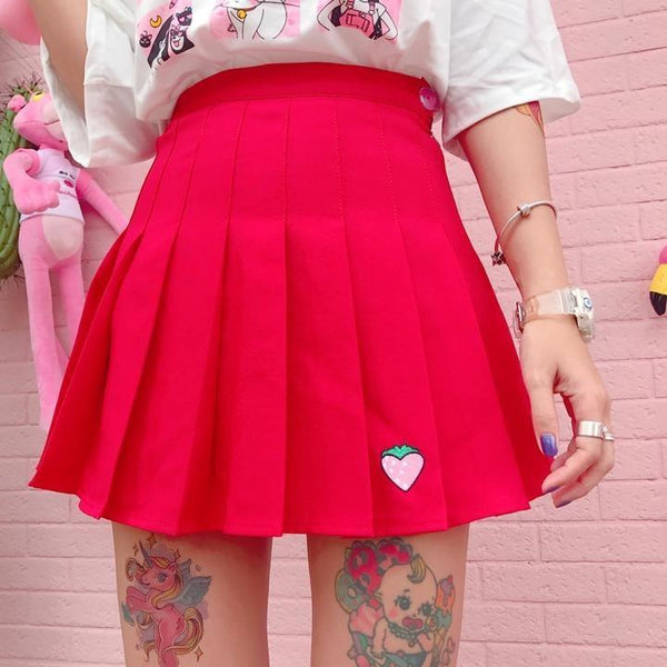 Red Strawberry Tennis Skirt Pleated School Girl Skirts Harajuku Kawaii Japan Fashion