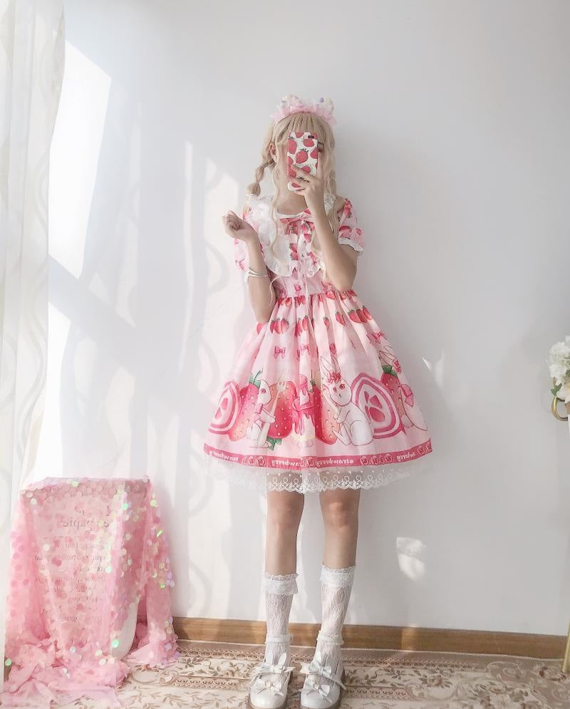 Strawbunny Shortcake Lolita Dress - jsk dress