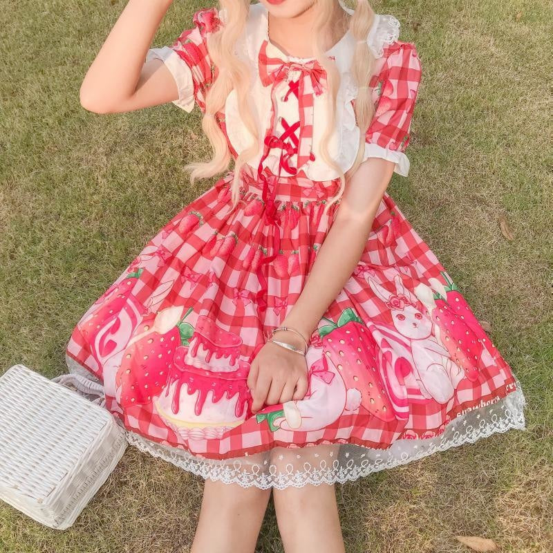 Strawbunny Shortcake Lolita Dress - Red Dress - jsk dress