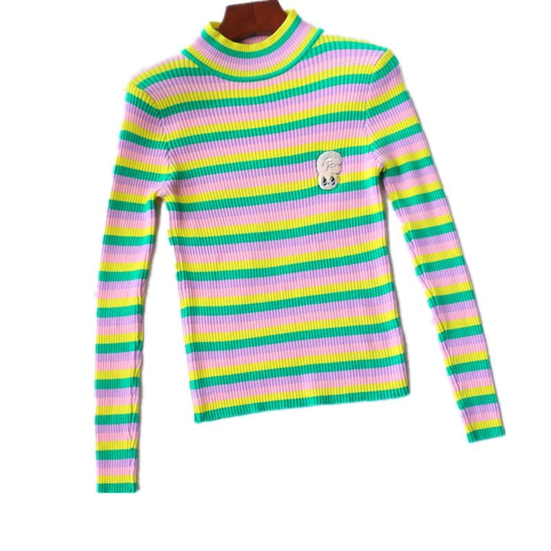 Striped Bunny Turtleneck - bunnies, bunny, bunny rabbit, crewneck, crewneck sweater