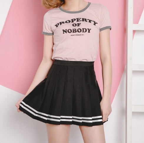 Striped Tennis Skirt - Black / L - skirt