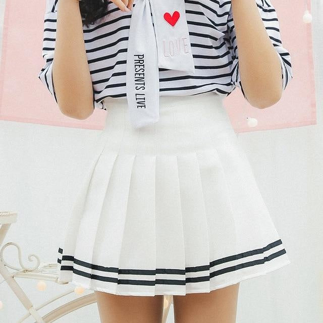 Striped White School Girl Tennis Skirt Pleated Pink Cute Kawaii Harajuku Fashion