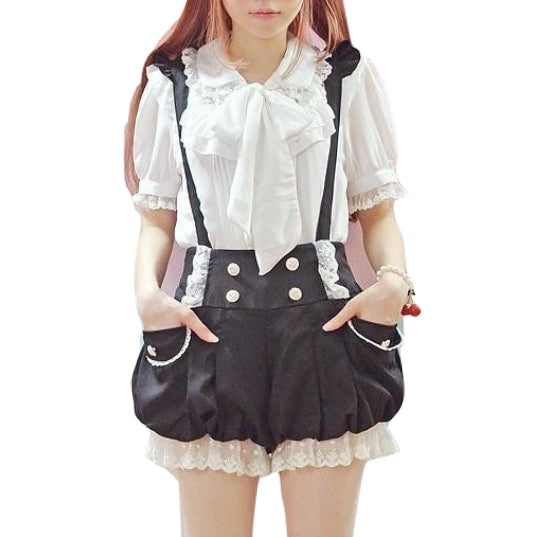 Kawaii Black Bloomer Shorts Suspender Strap Harajuku Japan J Fashion