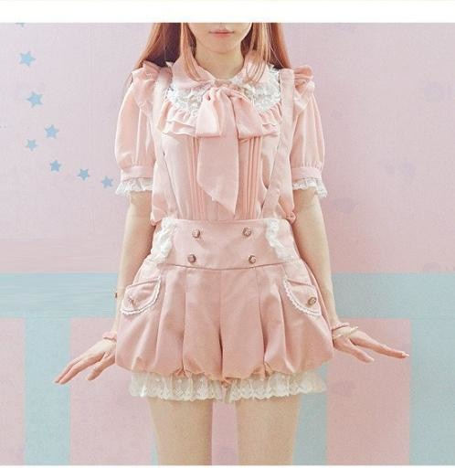 Kawaii Pink Bloomer Shorts Suspender Strap Harajuku Japan J Fashion