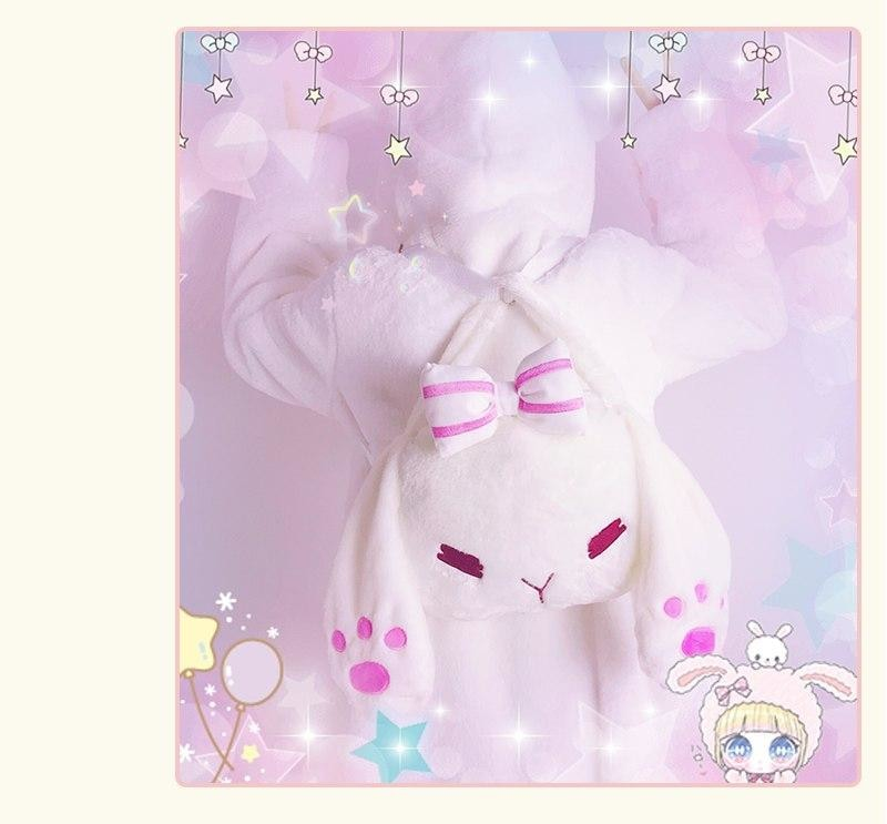 White Kawaii Bunny Rabbit Fluffy Handbag Purse Shoulder Bag Harajuku Fashion Fuzzy Rabbit Ears